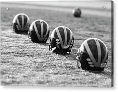 Striped Helmets On The Field Acrylic Print