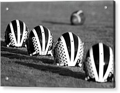Striped Helmets With Football Acrylic Print