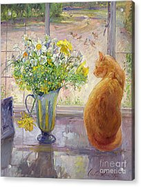Striped Jug With Spring Flowers Acrylic Print by Timothy Easton