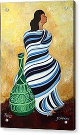 Striped Pancho Acrylic Print by John Smeulders