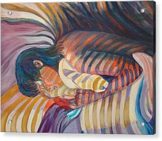 Acrylic Print featuring the painting Striped Sheets And Venetian Blinds by Anne Dentler