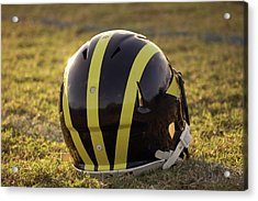 Striped Wolverine Helmet On The Field At Dawn Acrylic Print