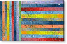 Stripes With Blue And Red Acrylic Print by Michelle Calkins