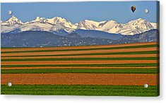 Stripped Fields And Balloon Acrylic Print by Scott Mahon