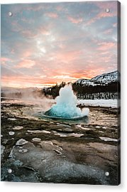 Strokkur Winter Blowup In Front Of Sunset Acrylic Print