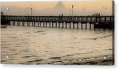 Stroll On The Pier Acrylic Print by Rose  Hill