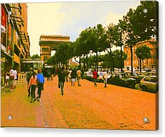 Strollers Along The Champs Elysees Acrylic Print