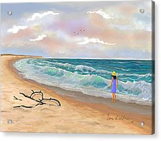 Acrylic Print featuring the painting Strolling The Beach by Sena Wilson