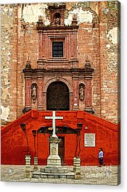 Strolling The Cathedral Plaza Acrylic Print by Mexicolors Art Photography