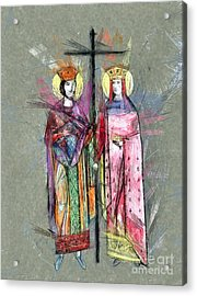 Sts. Constantine And Helen Acrylic Print by Daliana Pacuraru