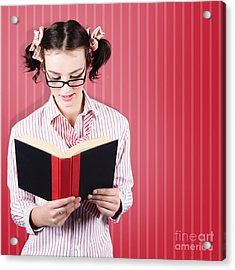 Student Reading Textbook While Learning With Study Acrylic Print