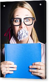 Studious Nerd Student Cramming Before Exams Acrylic Print by Jorgo Photography - Wall Art Gallery