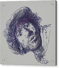 study-in-thread of 1630 Rembrandt self-portrait etching Acrylic Print by Barbara Lugge