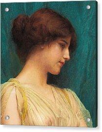 Study Of A Girl's Head Acrylic Print by John William Godward