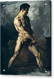 Study Of A Male Nude Acrylic Print by Theodore Gericault