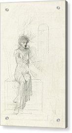 Study Of A Seated Woman Acrylic Print by John Melhuish Strudwick