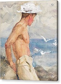 Study Of A Young Man Looking Out To Sea Acrylic Print