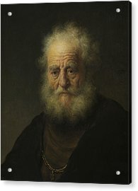 Study Of An Old Man With A Gold Chain Acrylic Print by Rembrandt