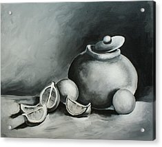 Study Of Lemons, Oranges And Covered Jug In Black And White Acrylic Print