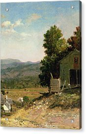 Study Of Old Barn In New Hampshire Acrylic Print by George Loring Brown
