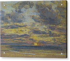Study Of The Sky With Setting Sun Acrylic Print by Eugene Louis Boudin