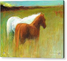 Acrylic Print featuring the painting Study Of Two Ponies by Frances Marino