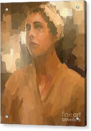 Study - Woman With Scarf Acrylic Print by Carrie Joy Byrnes