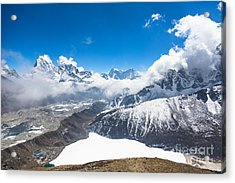 Stunning Panorama Over Gokyo In Nepal Acrylic Print