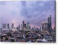 Stunning Sunset Over Jakarta, Indonesia Capital City Acrylic Print