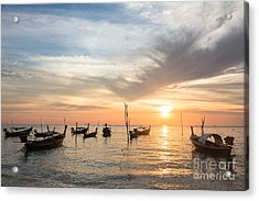 Stunning Sunset Over Wooden Boats In Koh Lanta In Thailand Acrylic Print