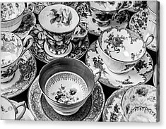 Stunning Tea Cups In Black And White Acrylic Print