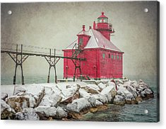 Sturgeon Bay Pierhead Lighthouse Storm Acrylic Print