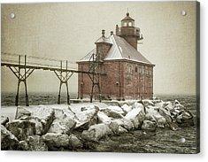 Sturgeon Bay Pierhead Storm Acrylic Print by Joan Carroll