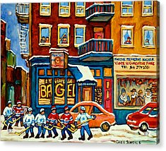 St.viateur Bagel Hockey Montreal Acrylic Print by Carole Spandau