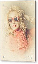 Stylish Blond Female Beauty In Vintage Sunglasses Acrylic Print by Jorgo Photography - Wall Art Gallery