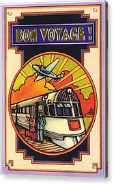 Stylized Bon Voyage Vintage Poster Acrylic Print