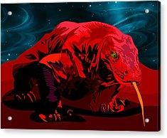 Stylized Cosmic Red Monitor Lizard Acrylic Print by Elaine Plesser