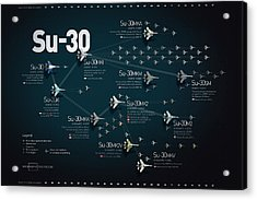 Su-30 Fighter Jet Family Military Infographic Acrylic Print by Anton Egorov