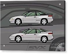 Subaru Alcyone Svx Duo Liquid Silver Acrylic Print by Monkey Crisis On Mars