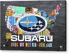 Subaru Usa Sales 2015 License Plate Map Art Acrylic Print by Design Turnpike
