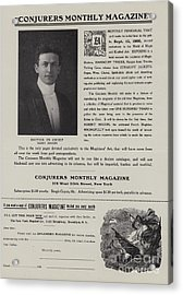 Subscription Form For Conjurers Monthly Magazine, Editor In Chief Harry Houdini, Circa 1906 Acrylic Print