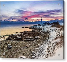 Subtle Sunrise At Portland Head Light Acrylic Print