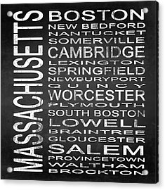 Subway Massachusetts State Square Acrylic Print by Melissa Smith