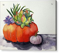 Succulents In Pumpkin Acrylic Print