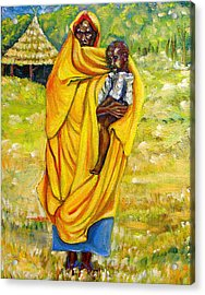 Sudanese Mother And Child Acrylic Print by George Chacon