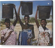 Sudanese Women Coming From The Borehole Acrylic Print by Leonor Thornton