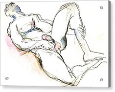 Acrylic Print featuring the mixed media Suffering Is Optional - Male Nude  by Carolyn Weltman