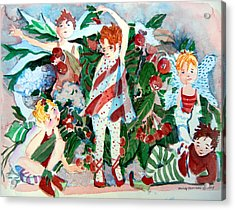 Sugar Plum Fairies Acrylic Print by Mindy Newman