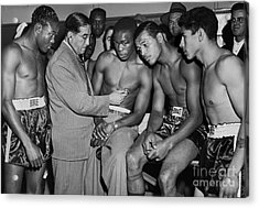 Sugar Ray Robinson And Others Go Through A Pre-fight Checkup. 1948 Acrylic Print by Anthony Calvacca