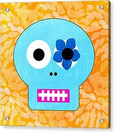 Sugar Skull Blue And Orange Acrylic Print by Linda Woods